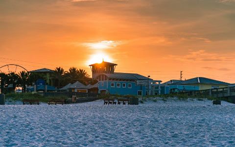 Panama City Beach sunset beach buildings pier